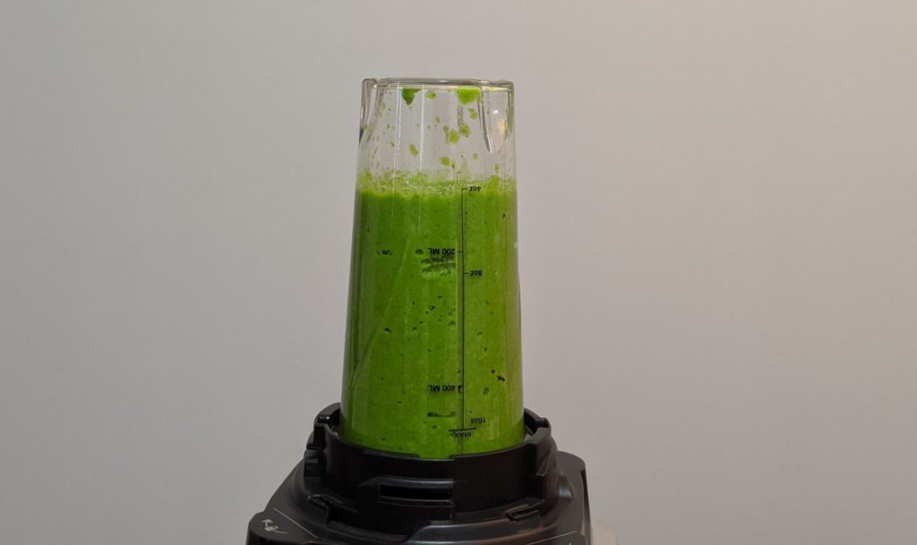 Ninja blender with Thai Green Curry paste mixture inside