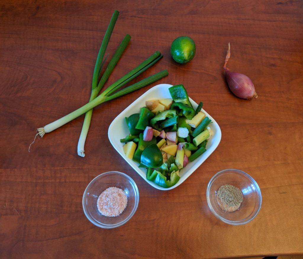 Thai Green Curry ingredients chopped in bowls